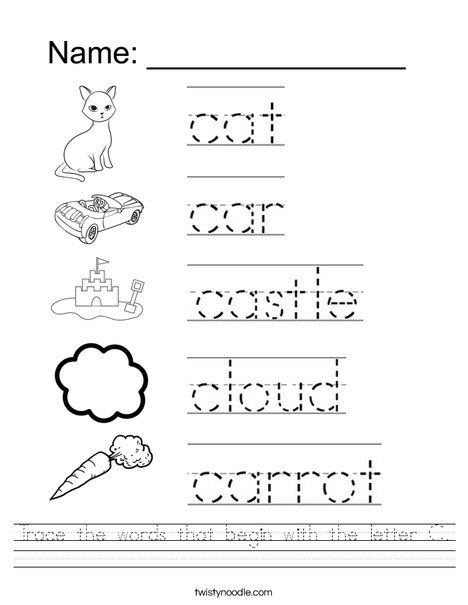 Trace The Words That Begin With The Letter C Worksheet