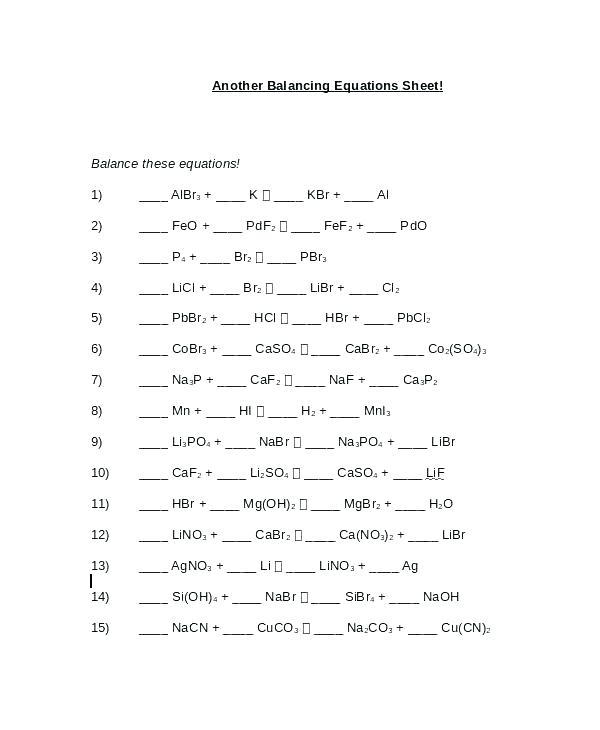 Balancing Equations Practice Problems Answer Key – Hedonia Co