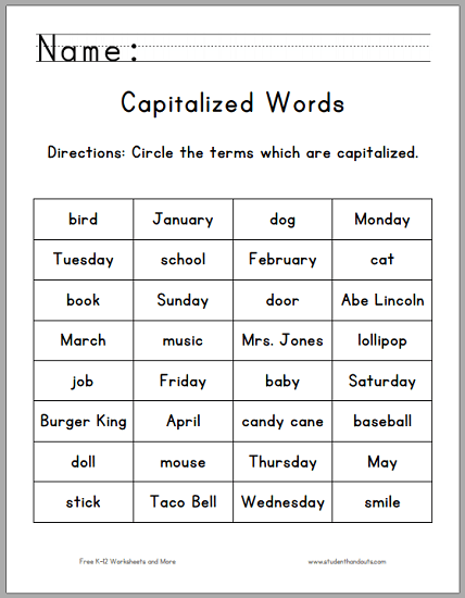 Circle The Capitalized Terms Worksheet For Grade One