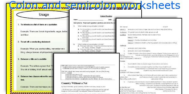 Colon And Semicolon Worksheets