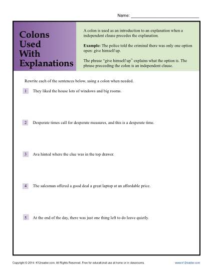 Colons Used With Explanations