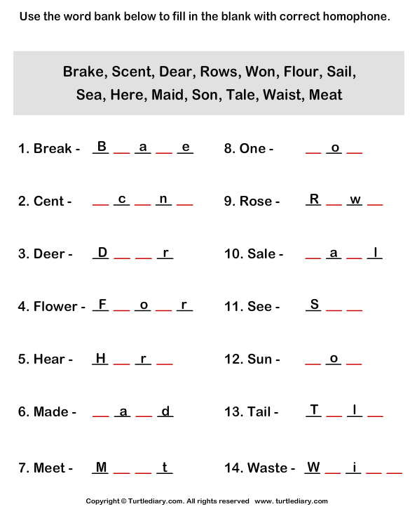 Complete The Homophones By Finding Missing Letters Worksheet