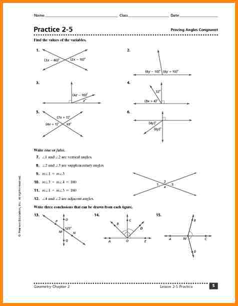 Congruent Angles Worksheet