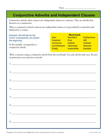 Conjunctive Adverbs And Independent Clauses