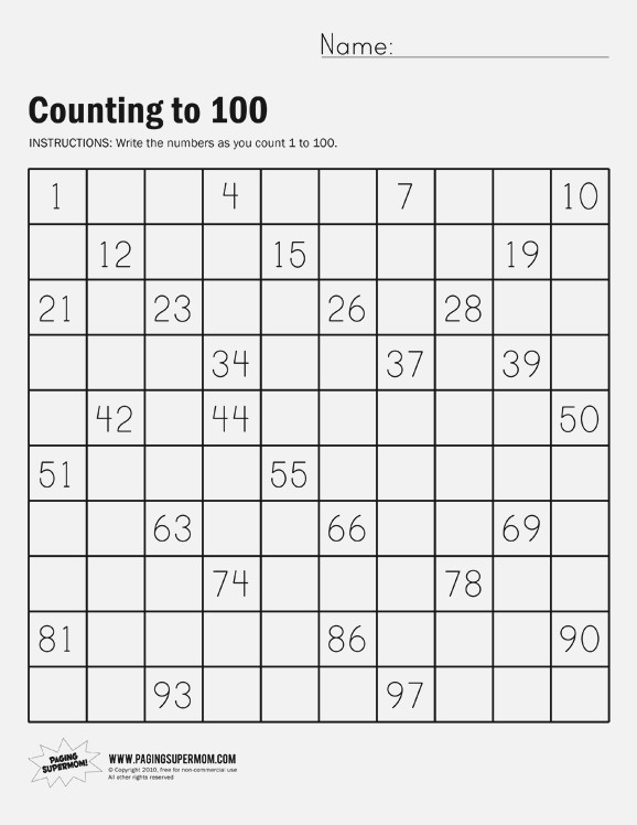 Count To 100 Worksheets – Dailypoll Co