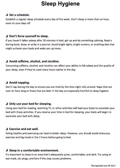 Sleep Hygiene Handout ( Worksheet