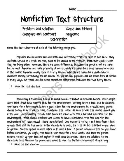 Nonfiction Text Structure Worksheet From Crafting Connections With