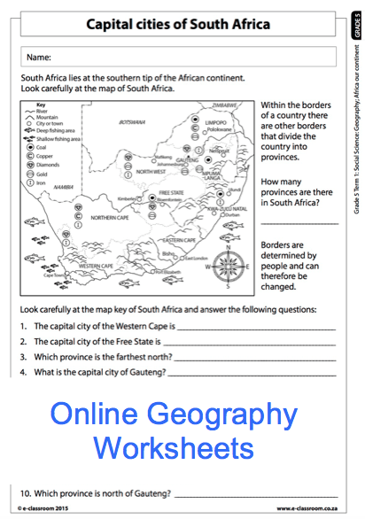 Grade 5 Online Geography Worksheet, Capital Cities Of South Africa
