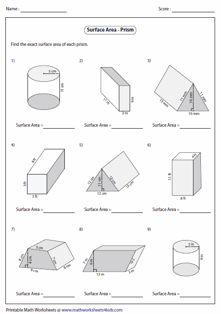 Surface Area Worksheet Surface Area Of Prisms  Level