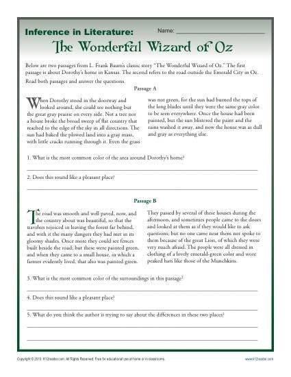 Inference In Literature  The Wizard Of Oz