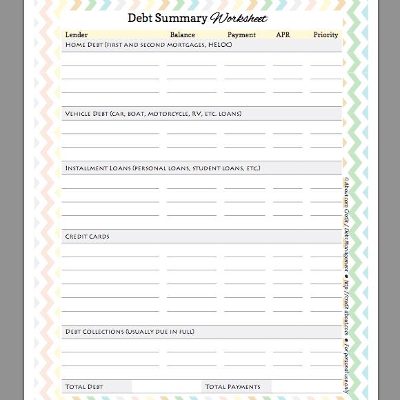 Free Debt Summary Worksheet