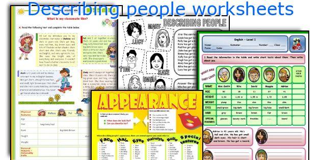 Describing People Worksheets