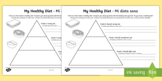 Healthy Eating Food Pyramid Writing Worksheet   Worksheet English