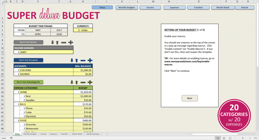 Excel Budget Spreadsheet Annual Xls Worksheet User Friendly Photos
