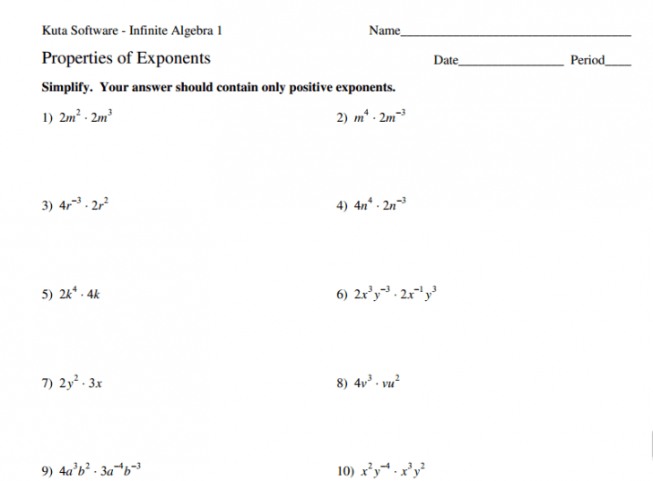 Exponent Rules Worksheet With Answers Math Worksheets Exponent