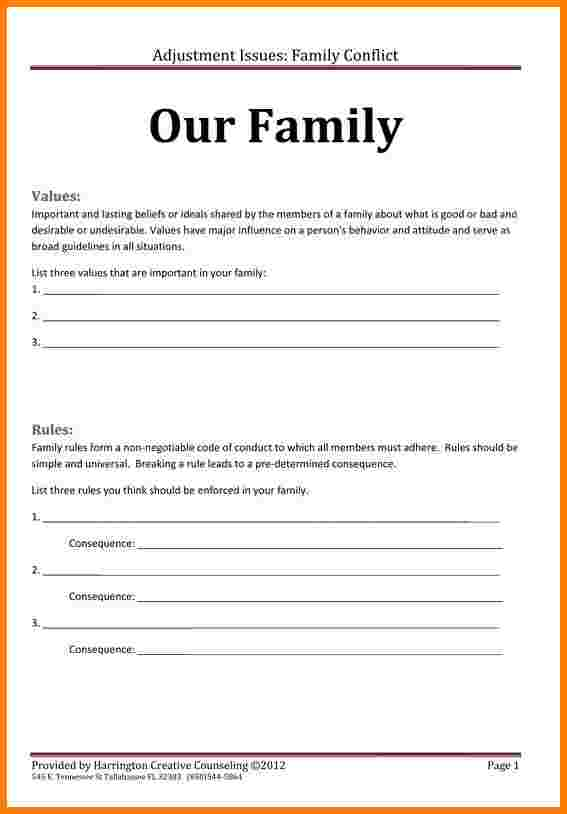 4+ Family Mission Statement Worksheet