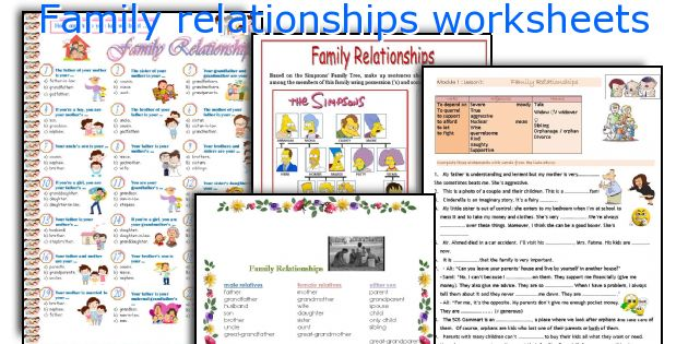 Family Relationships Worksheets