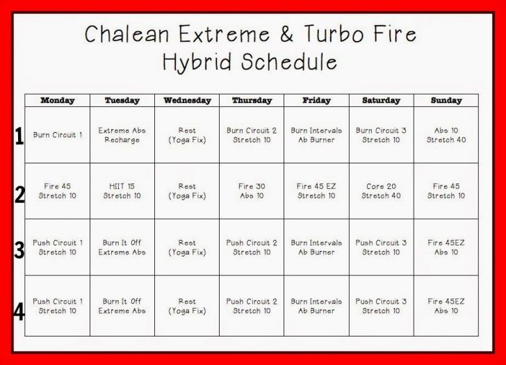 Chalean Extreme Worksheets