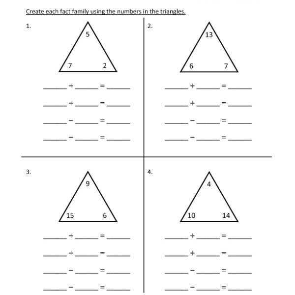 First Grade Addition Fact Families Worksheet 13 – One Page Worksheets