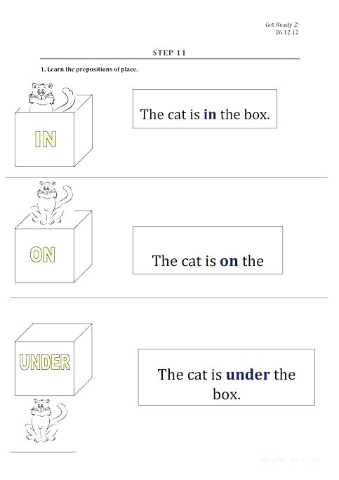 In On Under Worksheets For Kindergarten Printable Mixed Tenses Pdf