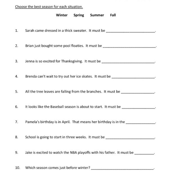 First Grade Seasons Worksheet 05 – One Page Worksheets