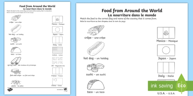 Food From Around The World Worksheet   Worksheet English French