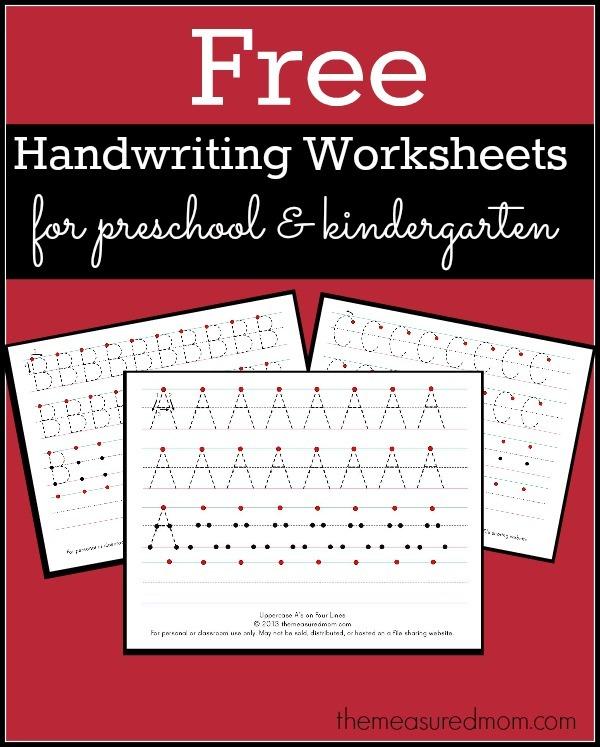 Free Printable Handwriting Worksheets For Preschool & Kindergarten