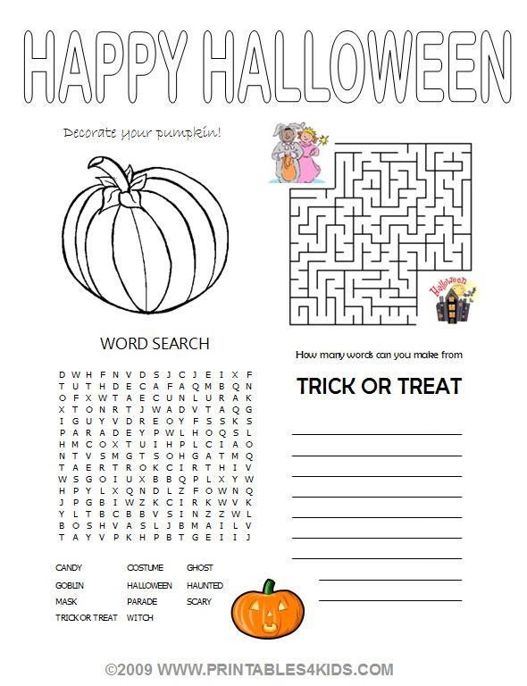 Free Printable Halloween Activity Worksheets