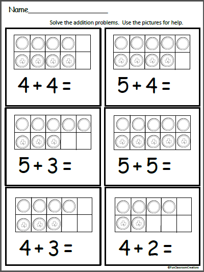 Gold Ten Frames Free Math Addition Worksheet