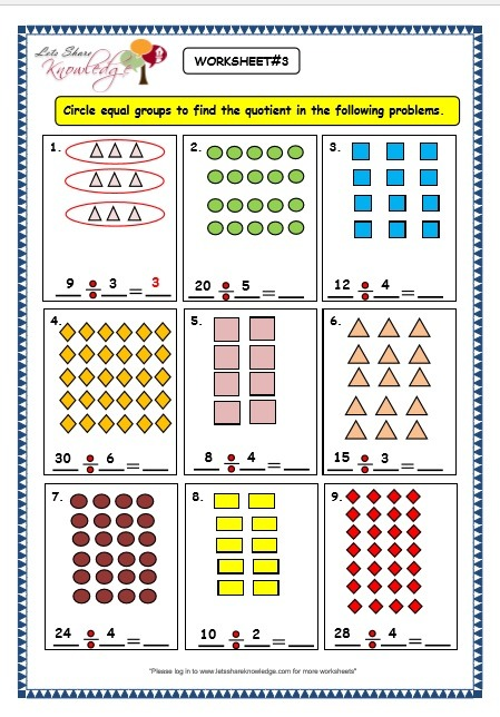 Grade 3 Maths Worksheets  Division (6 2 Division By Grouping