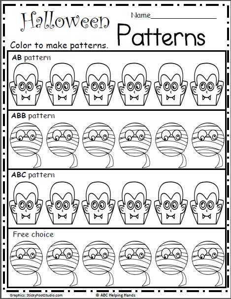 Free Halloween Math Patterns Activity