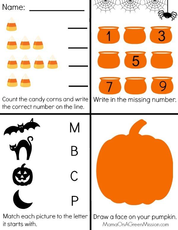 Preschool Halloween Worksheet Printable