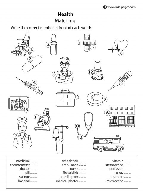 Health Matching B&w Worksheet