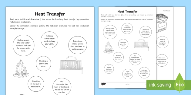 Heat Transfer Worksheet Heat Transfer Worksheet Activity Sheet