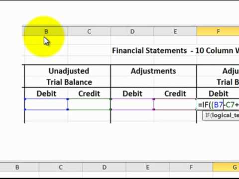 Excel 10 Column Worksheet For Accounting (excel Formulas Detailed