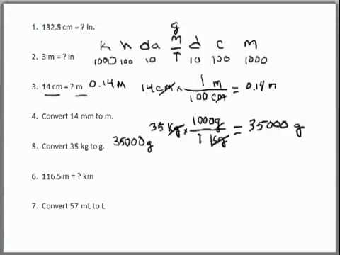 Dimensional Analysis Problems  1 Metric Conversions