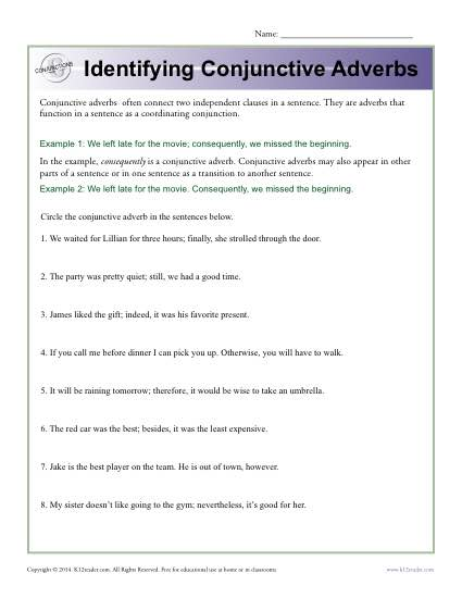 Identifying Conjunctive Adverbs