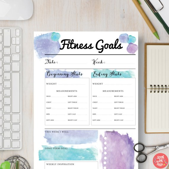 Fitness Goals Planner Printable  Track Your Weekly Weight &
