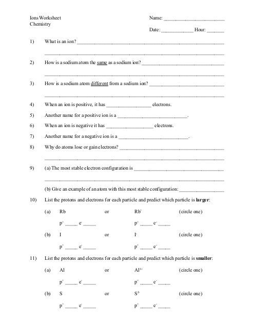 Ions Worksheet Name  Chemistry Date