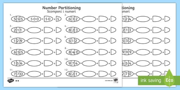 Hundreds, Tens And Ones Number Partitioning Worksheet   Worksheet