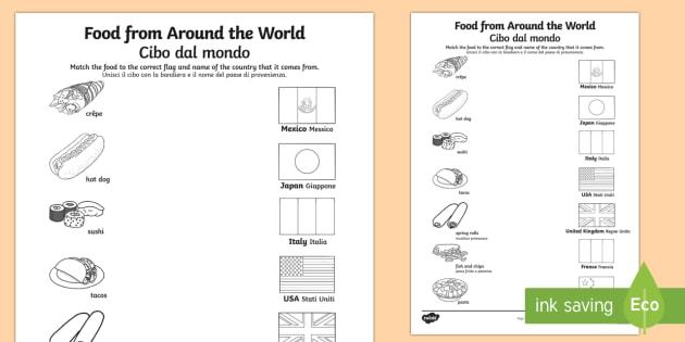 Food From Around The World Matching Worksheet   Worksheet English