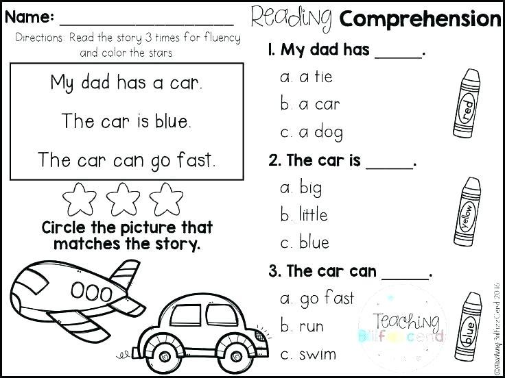 Kindergarten Ela Worksheets Reading Comprehension Worksheets For