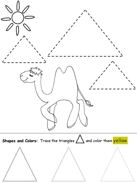 Kindergarten Geometry Worksheets Triangle Shapes For Preschool