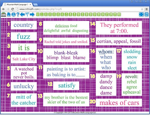 5th Grade Language Spiral Online Review For Classroom Whiteboard