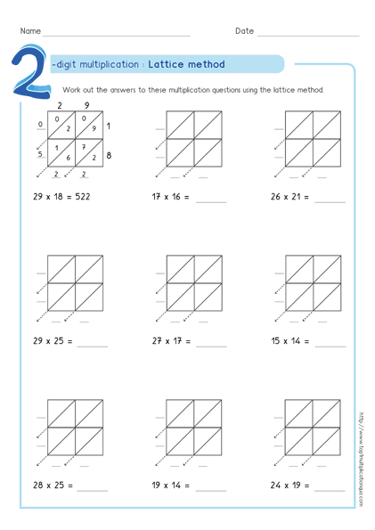 Lattice Method Multiplication Examples Worksheets & Test