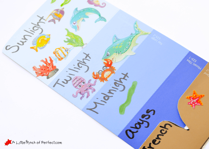 Learning About The Layers Of The Ocean (paint Sample Craft For Kids)
