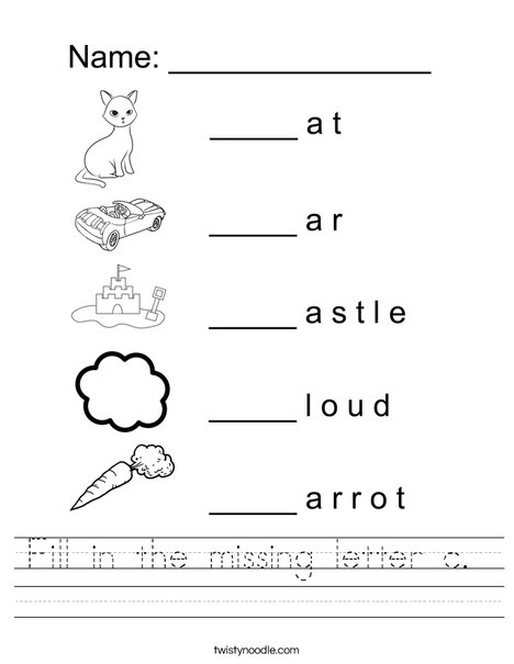 Letter C Worksheets As Letter Fill In The