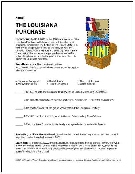 Louisiana Purchase Worksheet