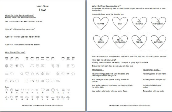 Learn About Love  Bible Worksheets