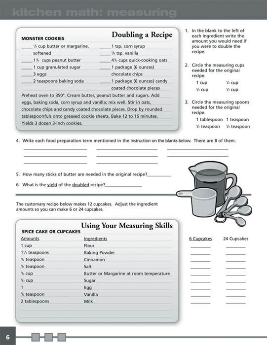 Learning Facs Math Activity Book  Kitchen Math Workbook